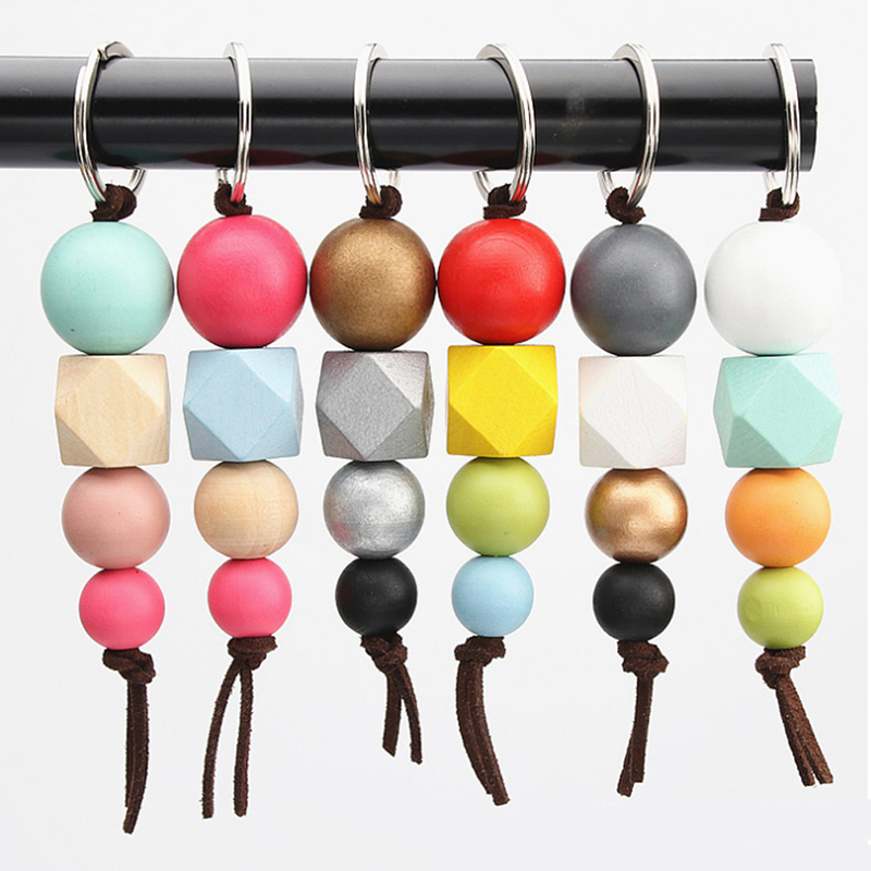 New Multicolor Geometric Wood Beads Keychain For Bag Round Wooden Beads Keyrings Gifts Bag Accessories