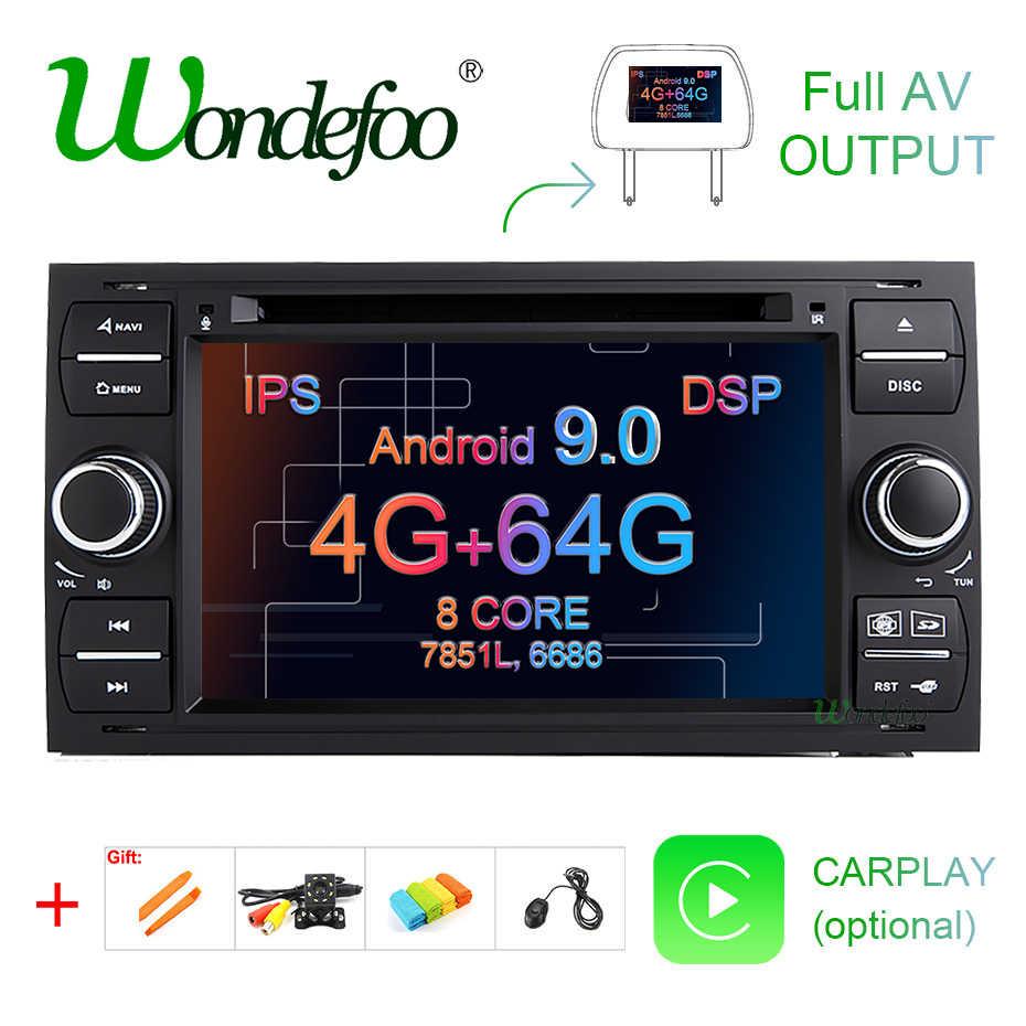 DSP IPS 2 din Android 9,0 4G 64G GPS para Ford Mondeo Ford S-max Focus C-MAX Galaxy Fiesta de tránsito fusión conectar kuga reproductor de DVD