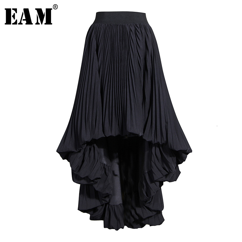 [EAM] High Elastic Waist Black  Asymmetrical Pleated Half-body Skirt Women Fashion Tide New Spring Autumn 2020 19A-a783