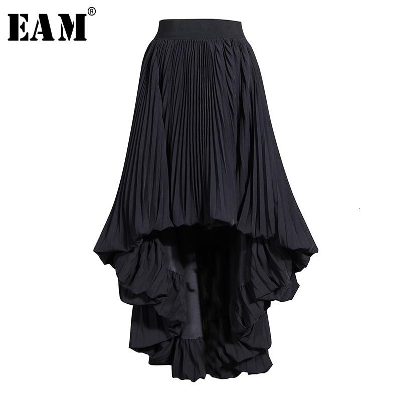 [EAM] High Elastic Waist Black  Asymmetrical Pleated Half-body Skirt Women Fashion Tide New Spring Autumn 2020 19A-a783