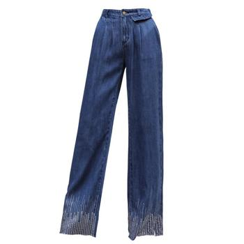 Spring summer thin section fashion wild Women's Straight jeans high wiast loose Tencel denim pants female r325 Straight Jeans