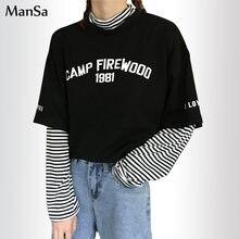 Осенняя женская футболка с буквенным принтом Повседневная бойфренд