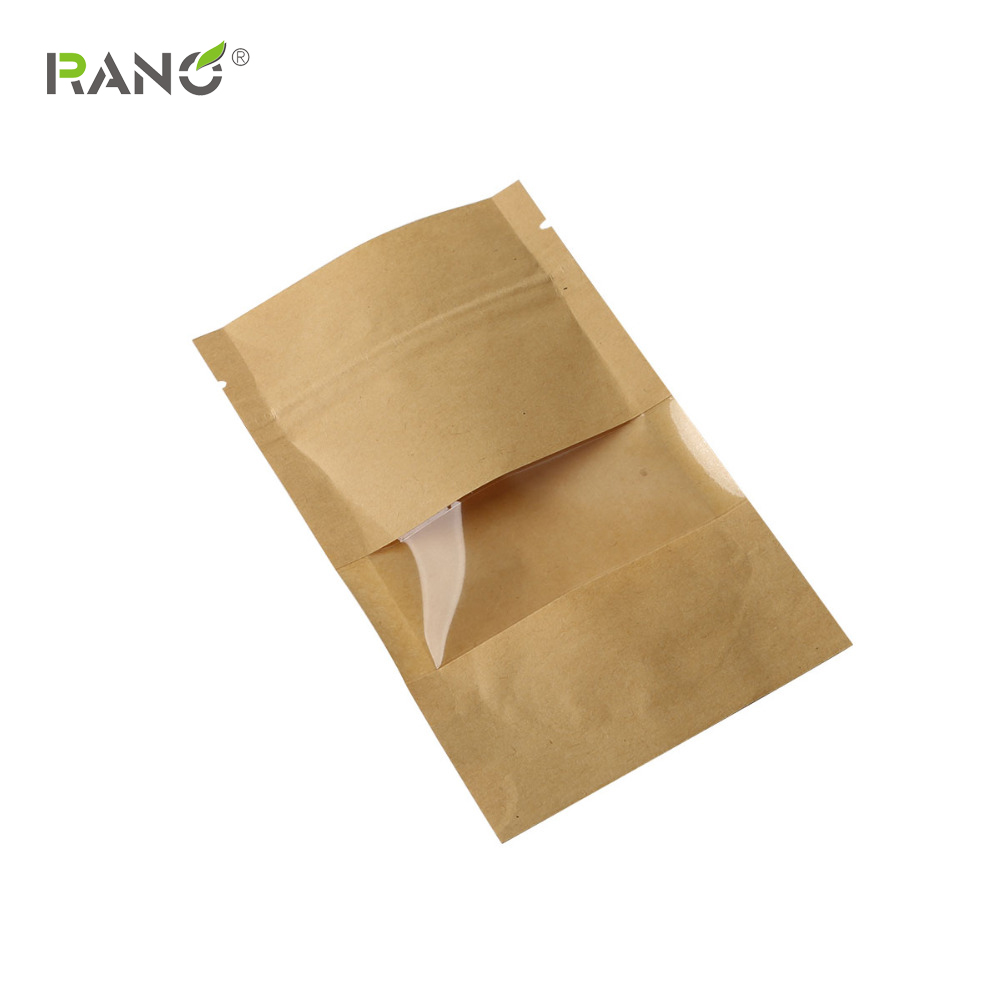 RANO 10pcs Boutique Zip Lock Brown Kraft Paper Gift Candy Window Packaging Bag Recyclable Food Bread Party Shopping Bags