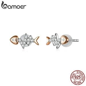 Image 3 - Bamoer אמיתי 925 סטרלינג כסף דגי עצם עם פעימות לב רוז זהב צבע שרשרת טבעת ועגילים לנשים ZHS185