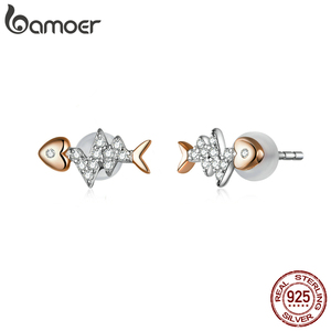 Image 3 - bamoer Real 925 Sterling Silver Fish Bone with Heartbeat Rose Gold Color Necklace Ring and Stud Earrings for Women ZHS185