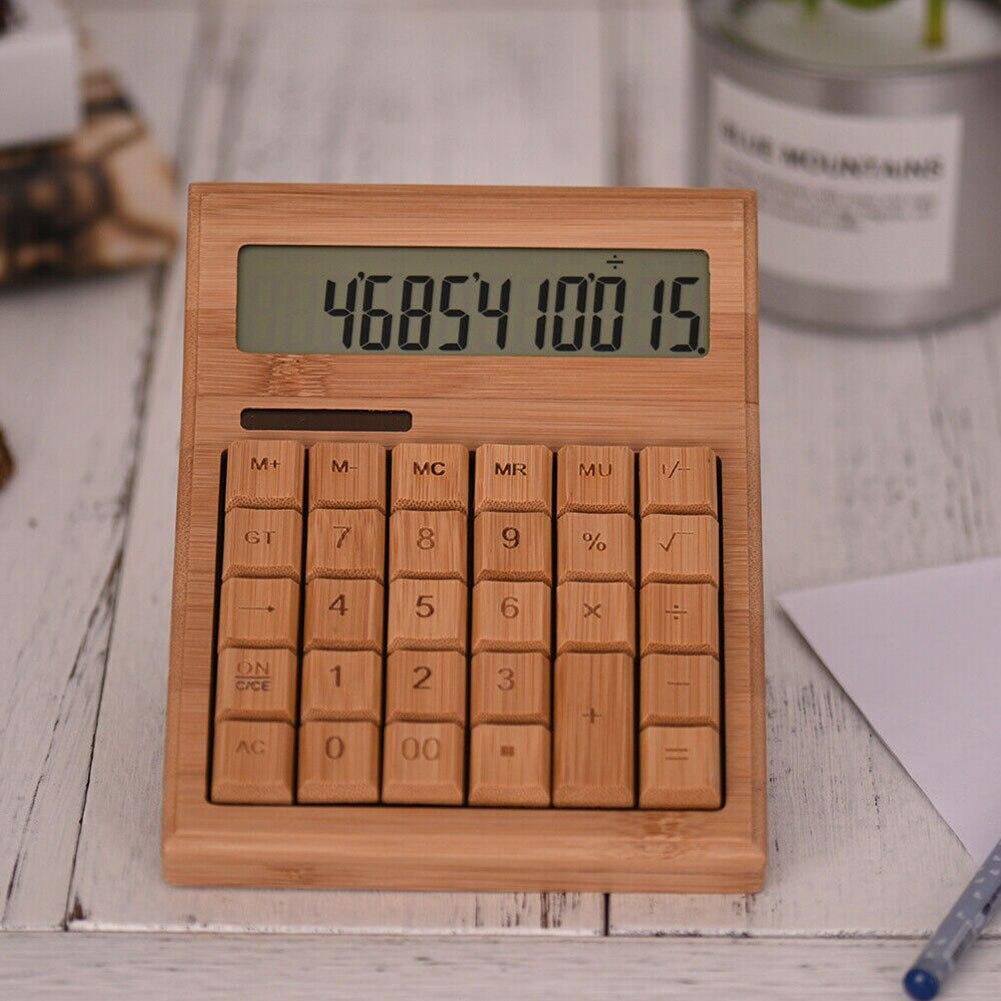 Студенческий домашний счетчик, электронный калькулятор, бамбуковый, на солнечных батареях, офисный, портативный, многофункциональный, 12 цифр, школьный