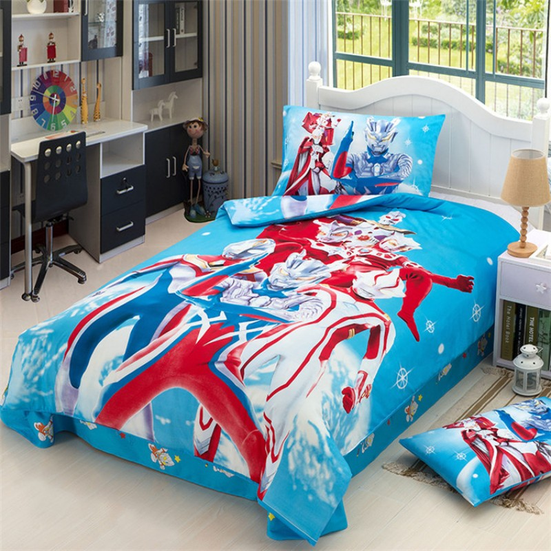 Japan Anime Super Hero Ultraman Bedding Set 100% Cotton  Super Mario Duvet Cover Pillowcase For Baby Boys Kids Birthday Gift