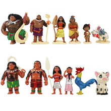 6 Stks/set 6-12 Cm Moana Prinses Maui Chief Tui Tala Heihei Pua Pvc Action Figure Dier Varken Cock collection Model Toy Brinquedos(China)