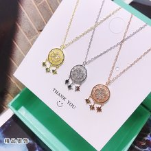 Exquisite Jewelry Whole 100% 925 Sterling Silver Sun and Star Pendant Necklaces Lasting Shine Magic Cross Chain with Zirconia exquisite real 925 sterling silver charming bee pendant necklaces lasting shine cross chain and zirconia good looking daisy