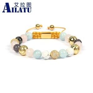 Image 3 - Ailatu New Bracelets for Women Mix Natural Stones Braiding Bracelet Cz Jewelry Stainless Steel Logo Beads Top Quality