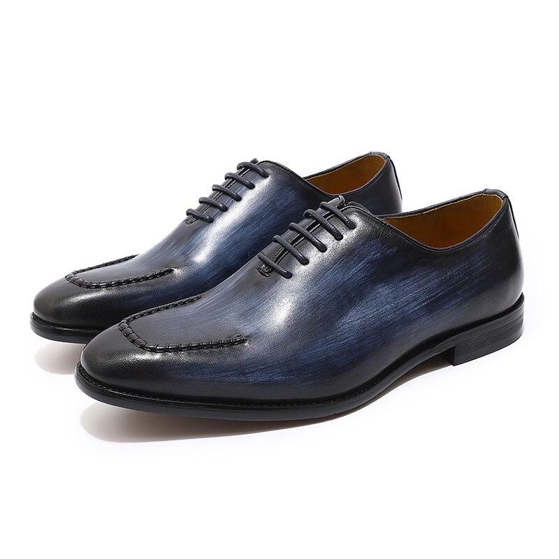 FELIX CHU Brand U Ontwerp Heren Oxford Lederen Hele Cut Lace Up mannen Formele Schoenen Bruiloft Kantoor jurk Schoenen-in Formele Schoenen van Schoenen op  Groep 2