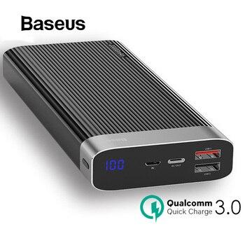 Baseus 20000mAh Power Bank para iPhone Huawei Powerbank USB tipo C PD + cargador rápido 3,0 carga rápida batería externa