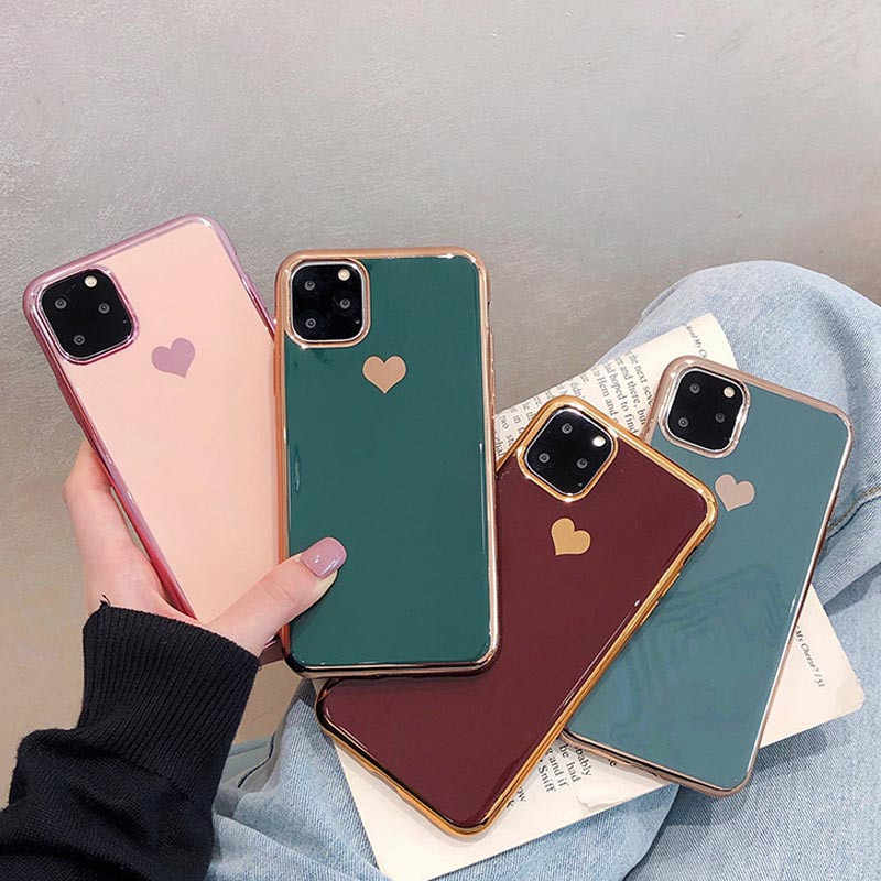Moskado Luxus Galvani Liebe Herz Telefon Fall Für Iphone 11 Pro Max X XS Max XR Weiche TPU Silikon Fall für Iphone 7 8 Plus