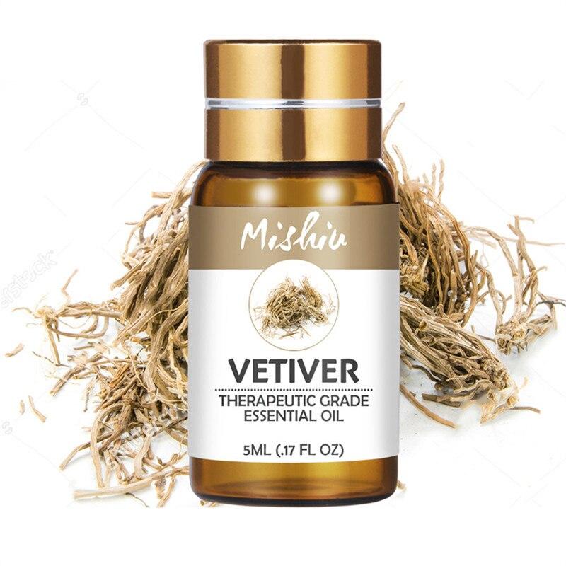 Mishiu Vetiver Ätherisches Öl Rein Pflanzlichen Diffusoren für Entlasten Stress Organic Body Massage Organische Duft Ätherisches Öl 5ML
