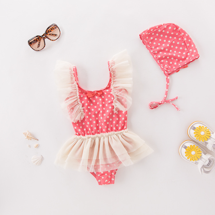 Girl'S One-piece Swimming Suit Pink Dots Yarn Edge Hooded-Children Hot Springs Bathing Suit