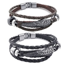 2 Pcs Jewelry Men'S and Ladies' Bracelet, Angelic Feathered Bracelet, Leather, Genuine Leather Alloy , Black Silver with Brown S(China)