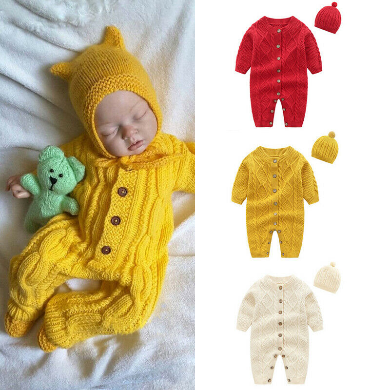 Autumn Winter Newborn Infant Baby Boys Girls Cotton Knitting Pure Color   Romper   Jumpsuit+Hat 2Pcs Outfits Button Warm 0-18M