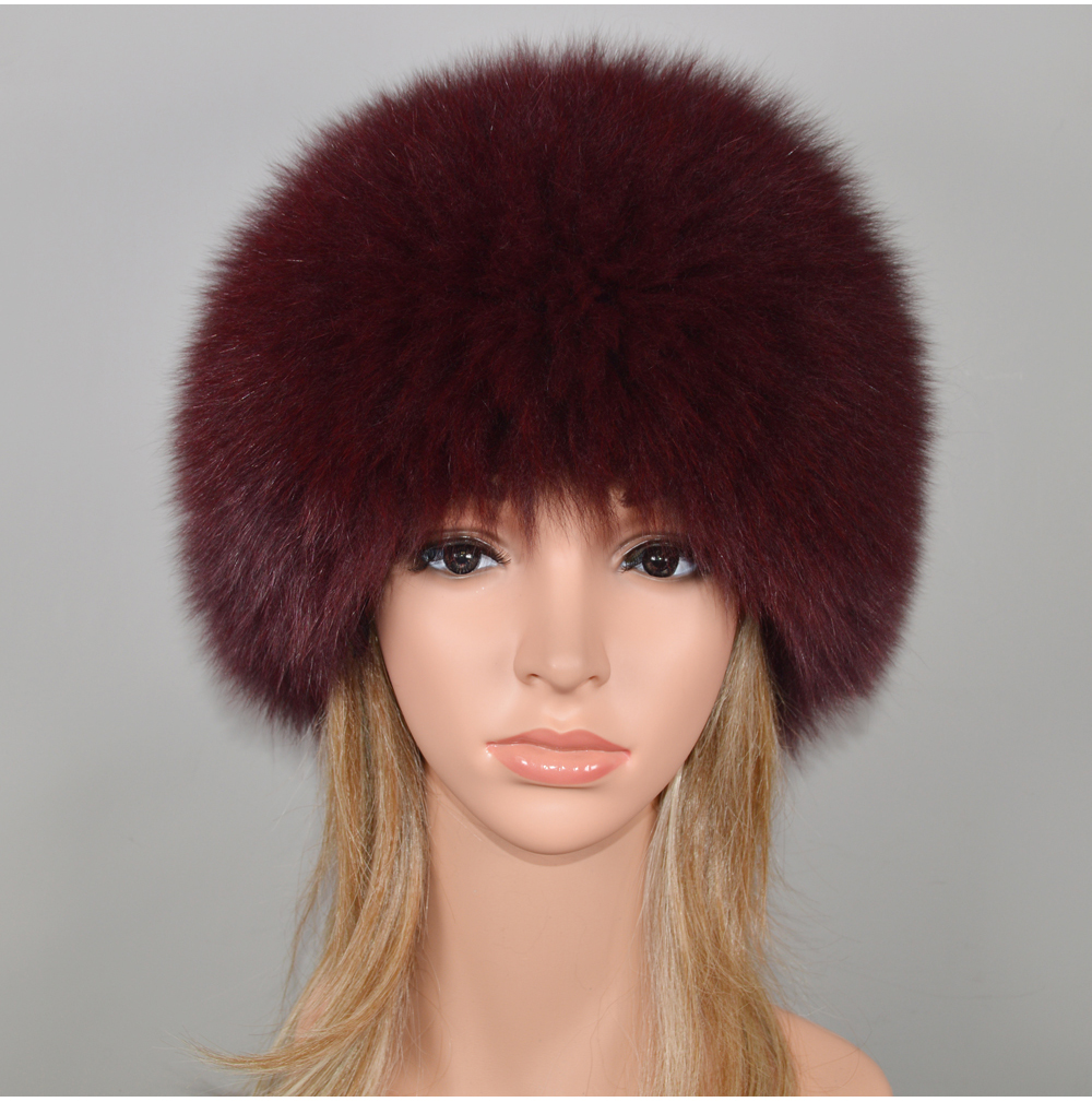 He8597152018849b3ae36bb3f9ab048dcA - New Luxury 100% Natural Real Fox Fur Hat Women Winter Knitted Real Fox Fur Bomber Cap Girls Warm Soft Fox Fur Beanies Hats