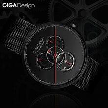 Ciga Ontwerp Ik Serie Quartz Horloge Ronde Wijzerplaat Roestvrij Stalen Horloge
