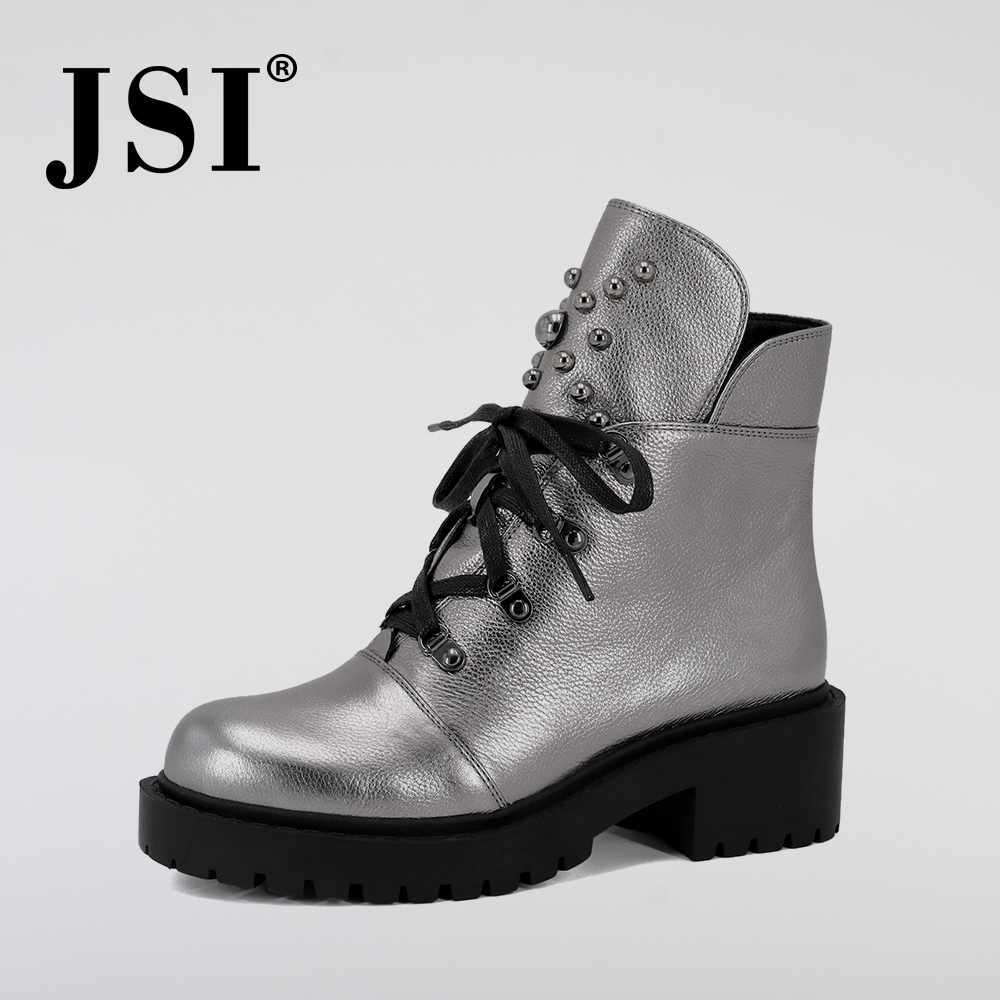 JSI Women Genuine Leather Ankle Boots New Hot Sale Solid Mid Heel Shoes Fashion Basic Metal