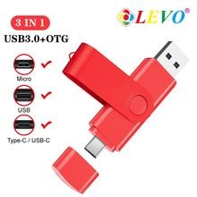 3 in 1 OTG USB Flash Drive USB3.0 & Type-C & Micro USB Pen Drive 256GB 128GB 64GB 32GB USB Stick Pendrives