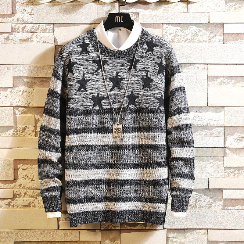 UYUK Autumn Japanese Round Neck Print Geometric Pattern Pullover Temperament Casual Large Size Trend Men's Sweaters Homme