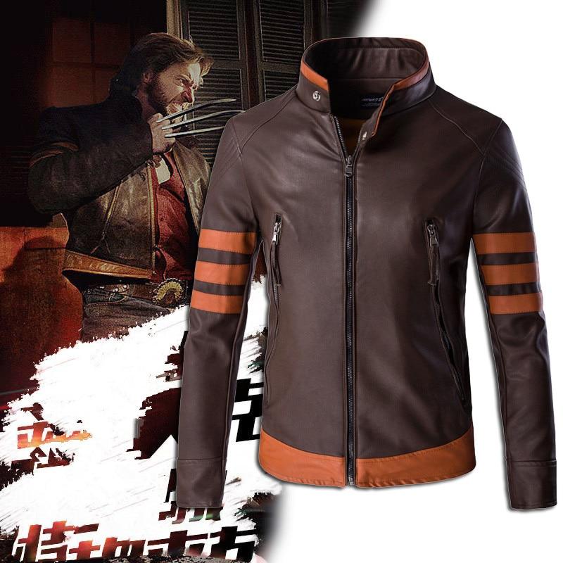 High-end brand men's zipper leather jacket Wolverine casual PU leather locomotive coat Logan bomber jacket slim coat size M-5XL 2