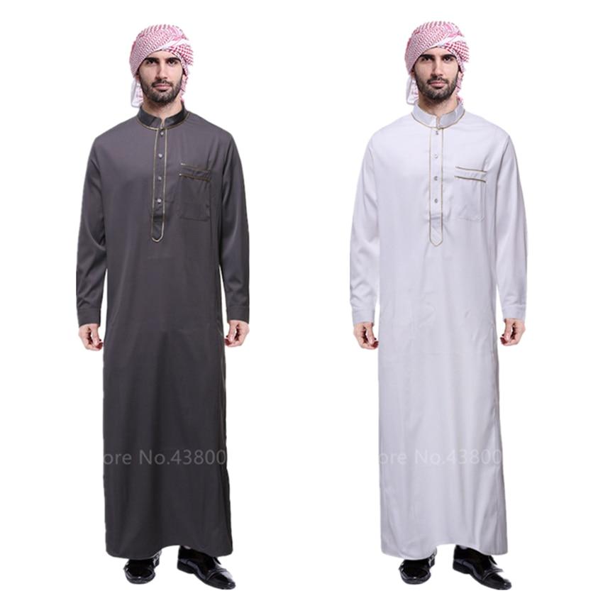 Muslim Abaya For Men Jubba Thobe Middle East Long Robes Kaftan Arab Dubai Adult Long Sleeve Islamic Clothing Scarf