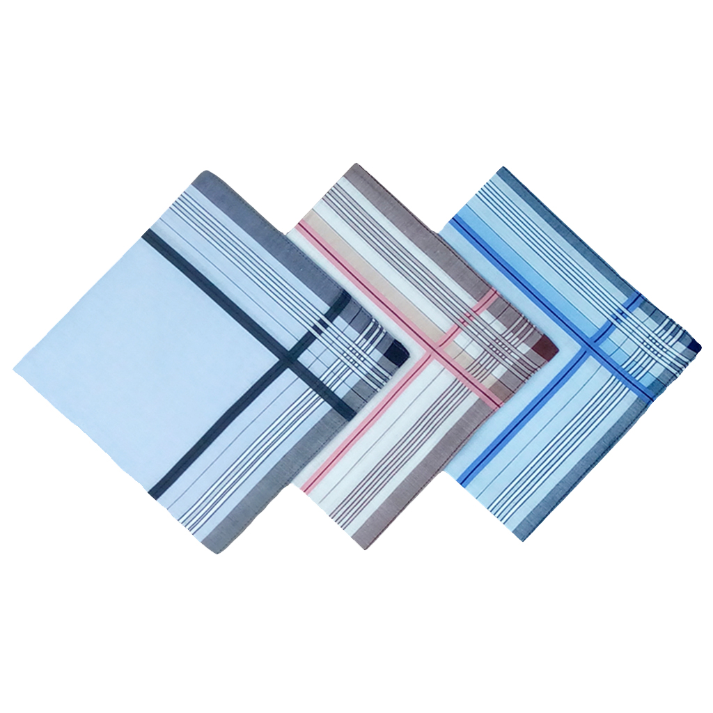 12 Pieces Of Men Striped Handkerchief-Pocket Square Hanky,Cotton Blend