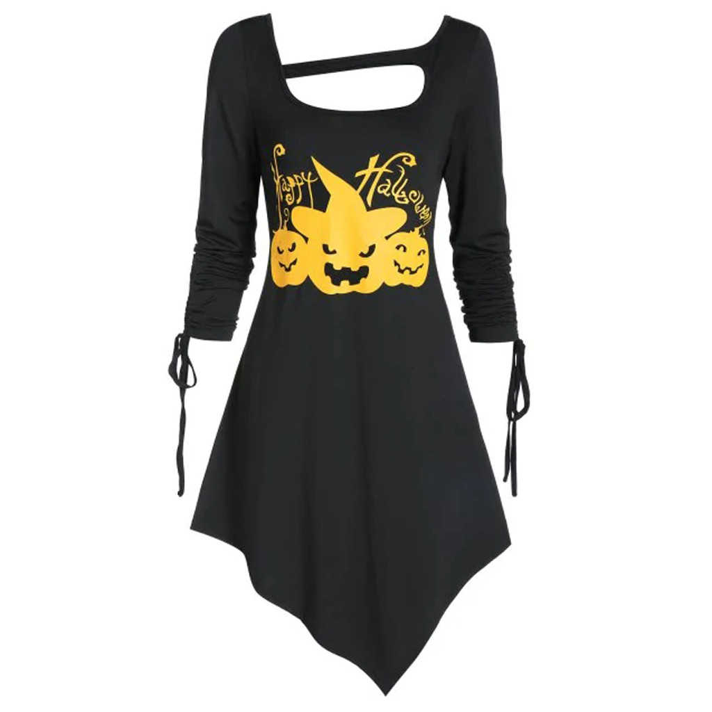 Новинки для женщин Хэллоуин для праздничного подарка женское платье Vestidos Асимметричная подчеркивающей Cut Out платье для Дня всех святых, Vestidos, плюс Размеры 819