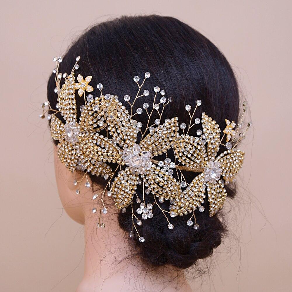 TRiXY H252-G Luxury Golden Wedding Crown Tiara Rhinestone Wedding Hair Jewelry Gold Bridal Accessory Crystal Bridal Headpiece