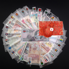 Notas do mundo coleção notas de 28 países do mundo diferentes com envelope moeda estrangeira não circulado world note presente