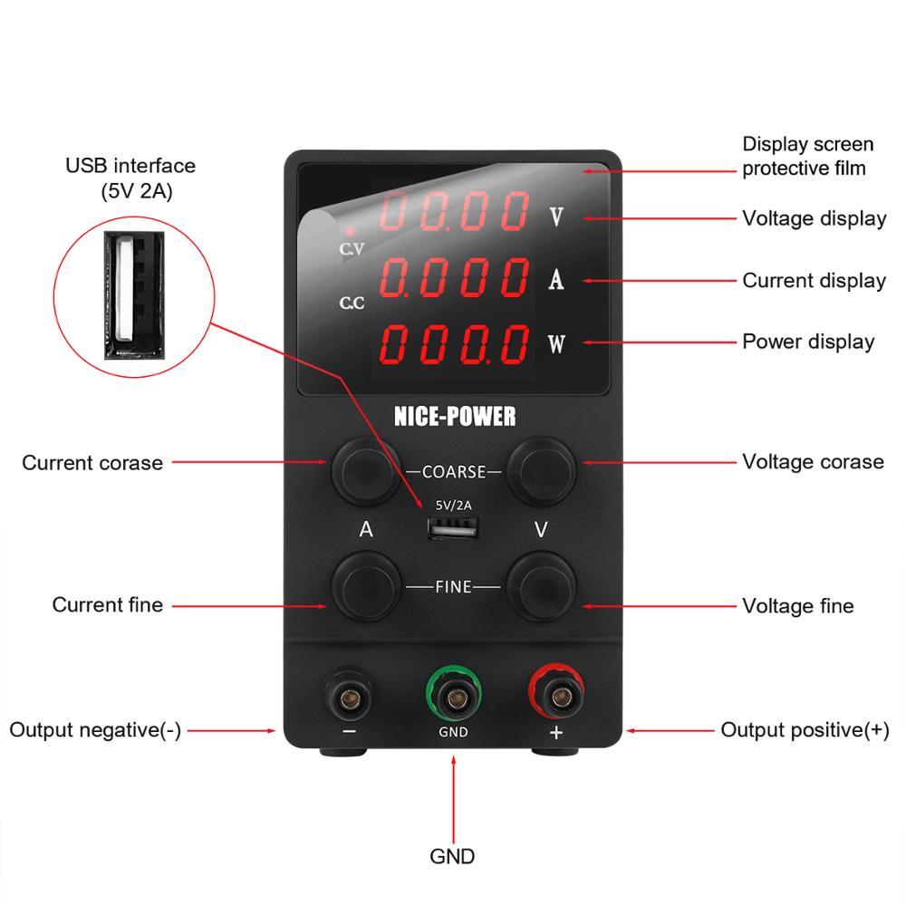Switching Power Supply Adjustable USB DC Laboratory Light Transformer DC 110V 220V 30V 60V 120V Power Supply Source 10A 5A 3A-1