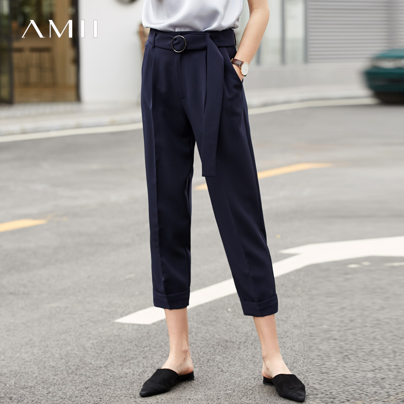 Amii Minimalist Office Lady Suit Pants Summer Women Elegant Solid Loose High Waist With Belt Female Ankle Length Pants 11920054