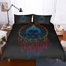 Dreamcatcher Bedding Set Buddha Printed Bohemian Mandala Style Duvet Cover Set Feather Galaxy Bed Linen Set Full Twin Pillowcase(China)