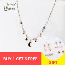 Bohemian chokers Necklaces Geometric Star & Moon CZ crystal Chains 925 silver rose gold gift For Women jewelry Fashion 2019