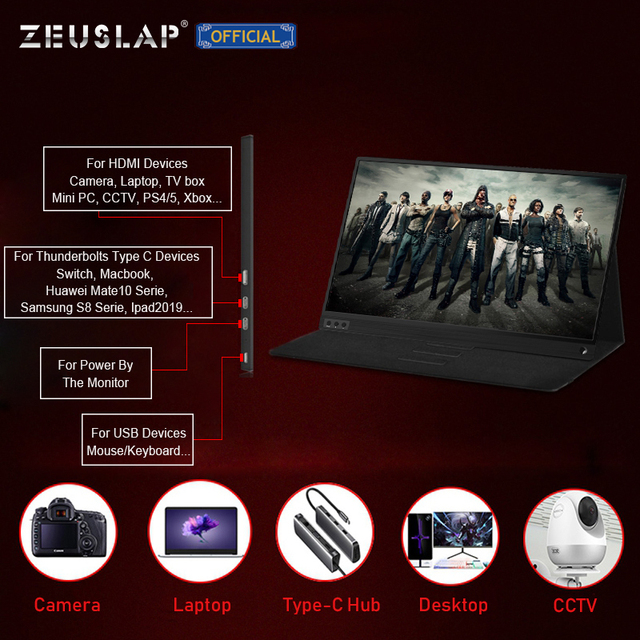 ZEUSLAP Thin Portable lcd hd monitor 15.6 usb type c hdmi for laptop,phone,xbox,switch and ps4 portable lcd gaming monitor 5