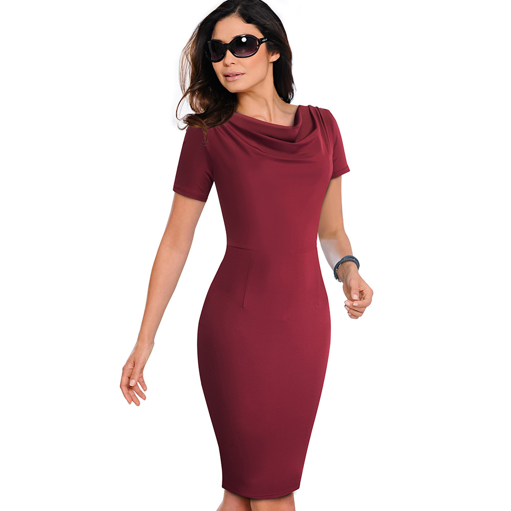 Nice-forever Women Vintage Wear to Work Elegant vestidos Business Party Bodycon Sheath Office Ruffle Female Dress B452 4