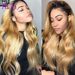 Miel couleur Ombre cheveux humains perruques T1B 27 perruques pour les femmes noires Transparent corps vague dentelle avant perruques brésilien vierge cheveux perruques