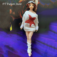 1:12 Female White Clothes Accessory Fashion T Shirt Hoodies Clothes Set Model Printed Picture for 6'' Action Figure Body