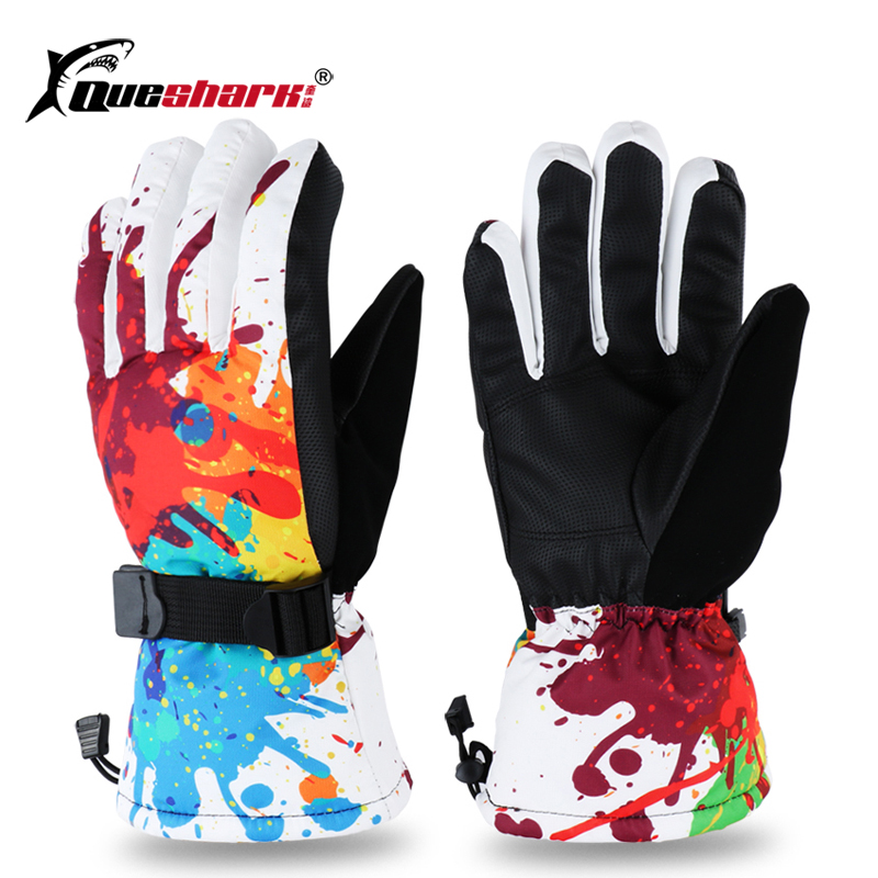 Family Children Winter Warm Ski Gloves Adult Windproof Waterproof Snowboard Gloves Cartoon Pattern Snow Skiing Gloves