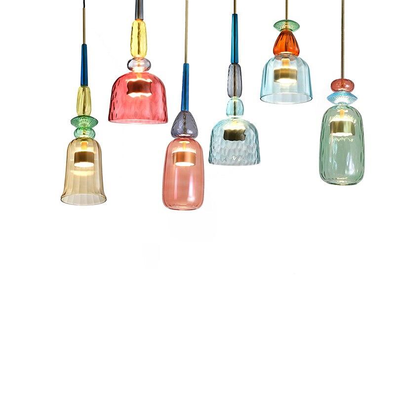 Скандинавский Цвет Подвеска Конфета Огни Современная гостиная спальня детская комната одна голова стеклянные подвесные лампы, украшение для дома светильники - 5