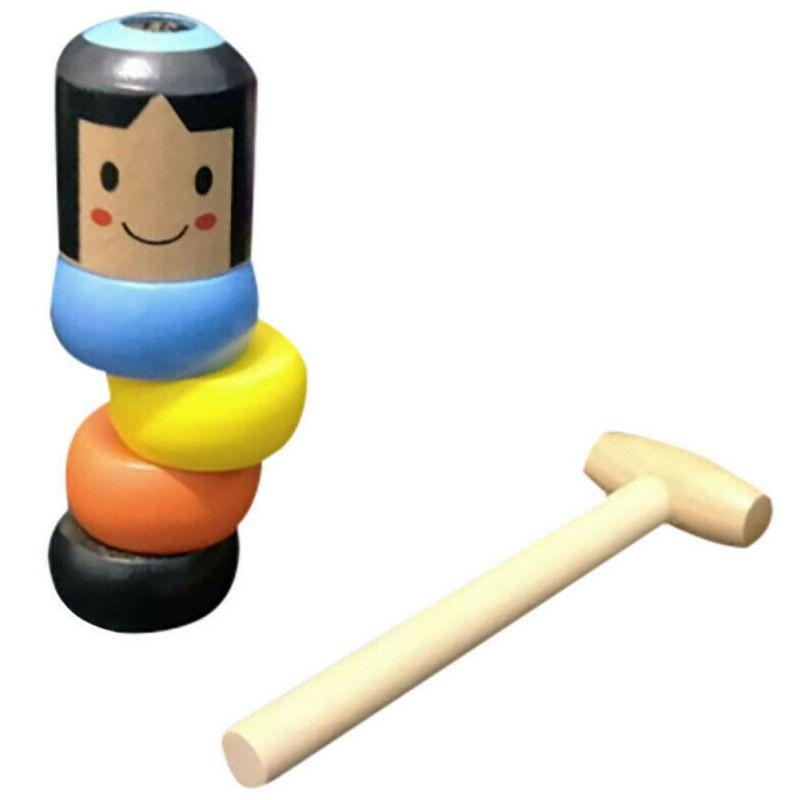 1Set Immortal Daruma Unbreakable Small Wooden Man Magic Tricks Funny Toy Stage Magic Props Comedy Mentalism Cartoon Characters