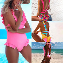 2019 Sexy Swimsuit Women Swimwear backless One Piece Halter Push Up Swimsuit Bandage Bathing Suit Wear Female Beachwear attractive halter backless openwork one piece swimsuit for women