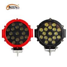 """OKEEN 7 """"arazi arabası ışığı çubuğu 51W LED çalışma lambaları Spot/sel 2.2in kalınlığı iyi soğutma yüzey Offroad 4WD traktör"""