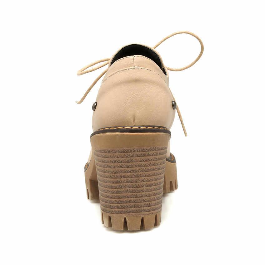 Женские туфли-лодочки на платформе QUTAA, черные туфли из искусственной кожи с круглым носком, на шнуровке, на высоком квадратном каблуке, размеры 34-43, 2020