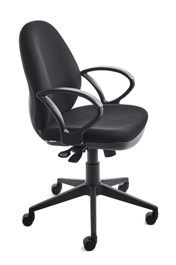 OFFICE CHAIR RD939/4 BLACK UPHOLSTERY WITH FIXED ARM INCLUDED