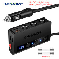 AOSHIKE -adaptador de corriente para coche encendedor de cigarrillos QC 3,0, 180W, 12V/24V, divisor de 3 enchufes, 4 puertos USB para GPS/DashCam/teléfono/iPad