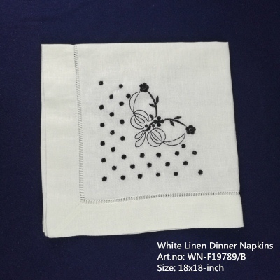 Set Of 12 Fshion Handkerchiefs White Linen Hemstitched Edges Table Napkin 18