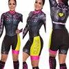Terno de triathlon profissional, camiseta de ciclismo preta feminina, macacão, manga longa em gel, conjunto de ciclismo, 2019 22